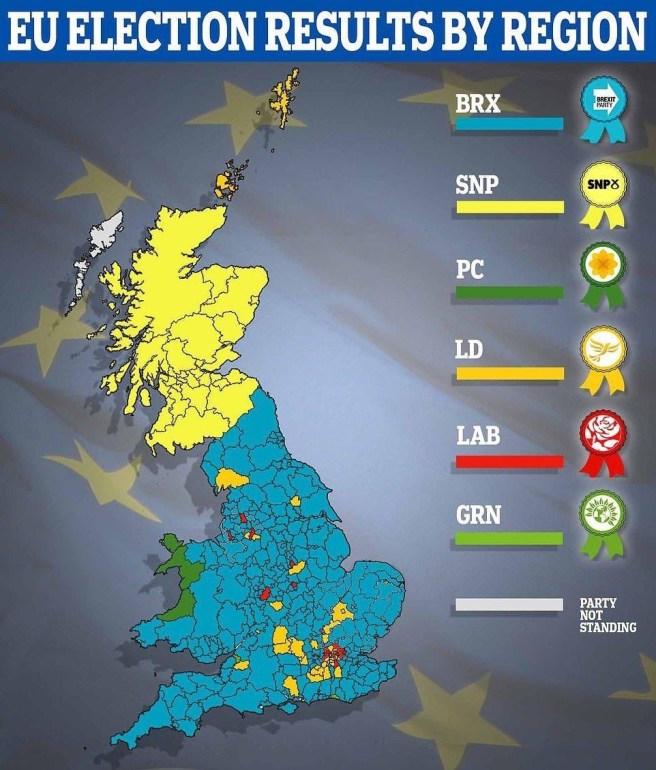 Élections Européennes 2019 Royaume Uni : Carte