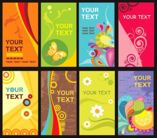 Colorful-Floral-Card-Template-Vector-Material-580x508