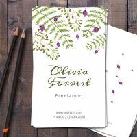 お花屋さんやフラワーデザイナー(フローリスト)に最適!無料名刺テンプレート。