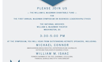Michael Connor to Keynote McGowan Symposium on Leadership & Ethics – November 6 in Washington, D.C.