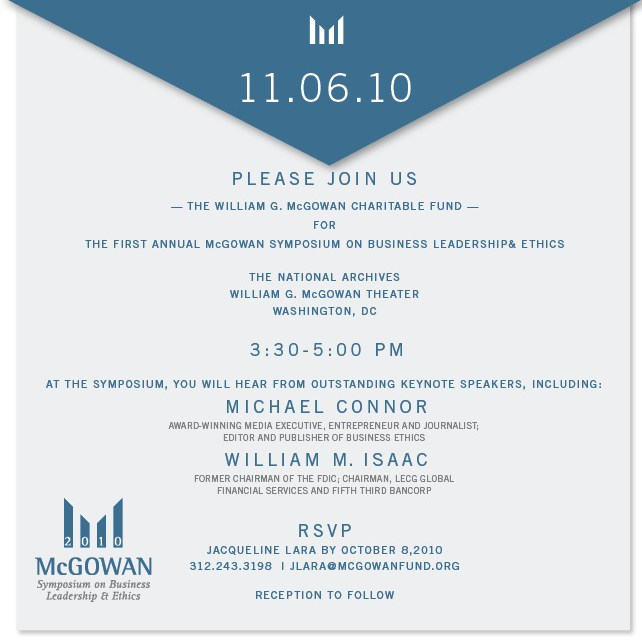 Michael Connor to Keynote McGowan Symposium on Leadership & Ethics – November 6 in Washington, D.C.