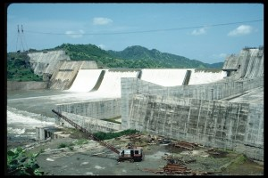 Construction of the Sardar Sarovar Dam, a controversial World Bank-funded project on the River Narmada, India