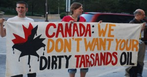 A Rainforest Action Network protest against a tar sands oil pipeline that would stretch from Canada to U.S. Gulf Coast refineries.Gulf