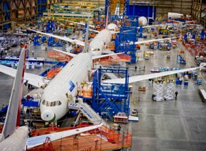787 Dreamliners in the final assembly facility in Everett, Wash.