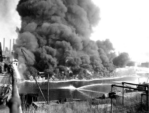 The Cuyahoga River on fire in 1952. When it happened again in 1969 it helped kick start the modern environmental movement including the establishment of the Clean Water Act and the founding of the EPA.