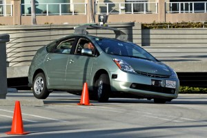 Google's prototype driverless car, a converted Prius, undergoing testing.