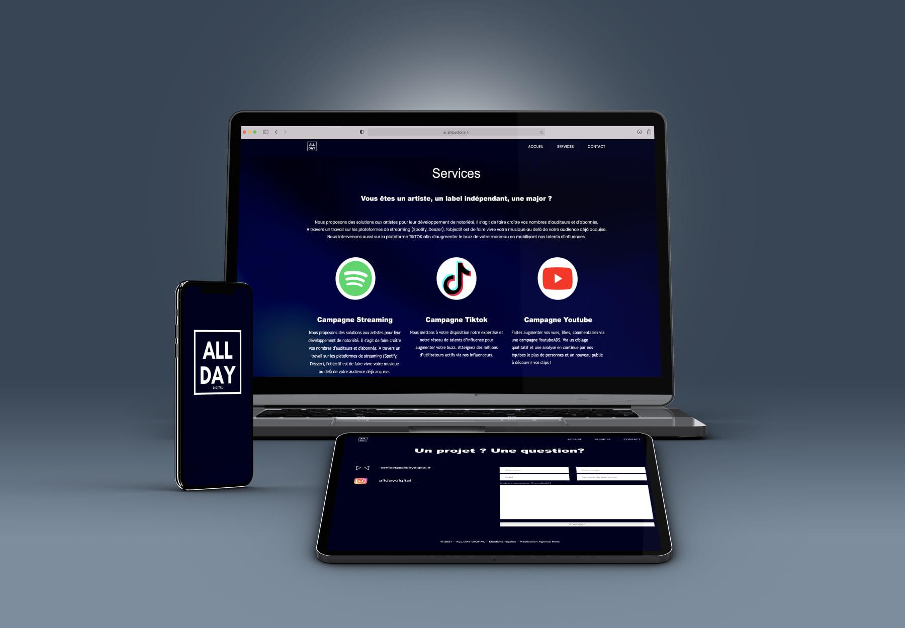 L'agence Kinic réalise le site Alldaydigital.fr