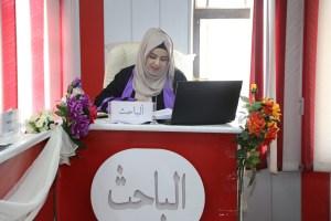 جانب من مناقشة طالبة الماجستير هبة نبيل حميد المسعودي