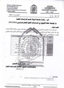 Read more about the article توسعة خطة القبول في الدراسات العليا للعام الدراسي (2018-2019)