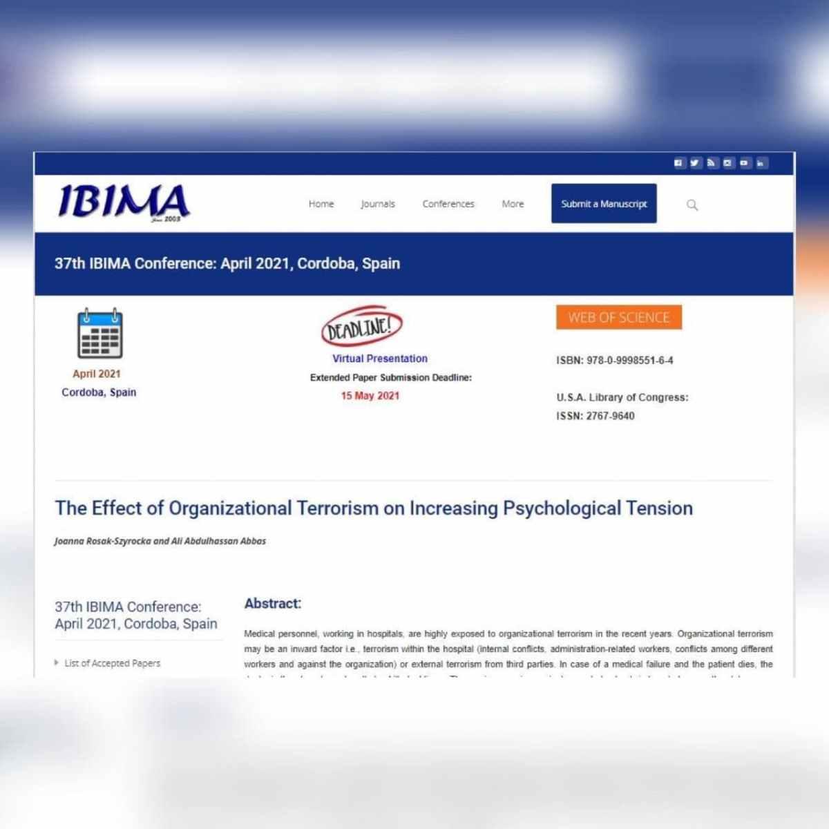 تدريسي من جامعة كربلاء  يشارك في المؤتمر السابع والثلاثون للجمعية الدولية لإدارة معلومات الأعمال IBIMA) 1-2)