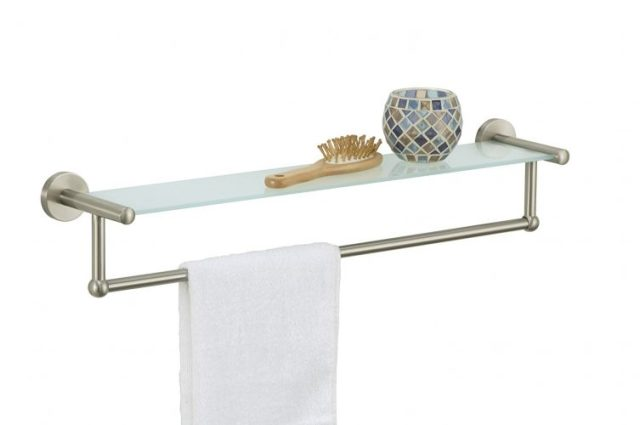 The Organize It All Satin Nickel Glass Shelf with Towel Bar- bathroom shelves