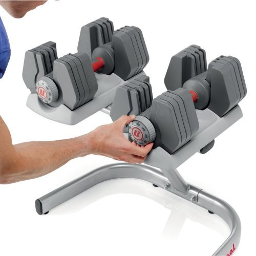 The Universal Selectorized 445 Dumbbell with Stand- adjustable dumbbells