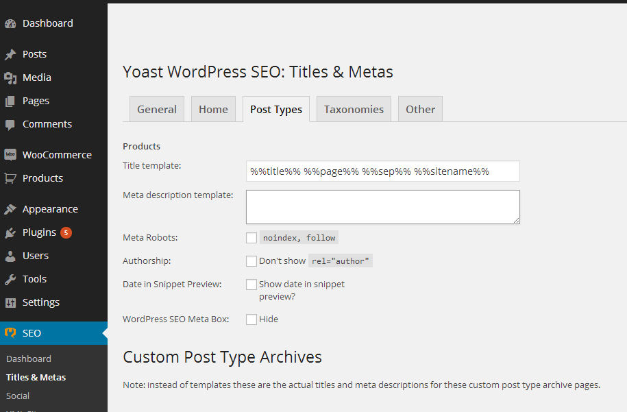 WooCommerce and YOAST SEO plugin: Title and Meta Templates