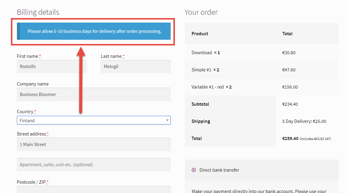 WooCommerce: Show Message After Country Selection @ Checkout