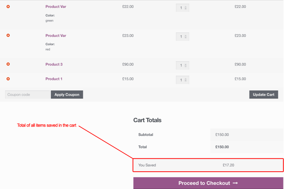 WooCommerce: Show Total Savings / Total Discount Amount @ Cart & Checkout Pages