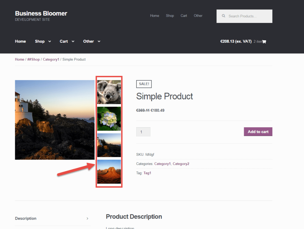 WooCommerce: Display Single Product Thumbnails Beside the Main Image