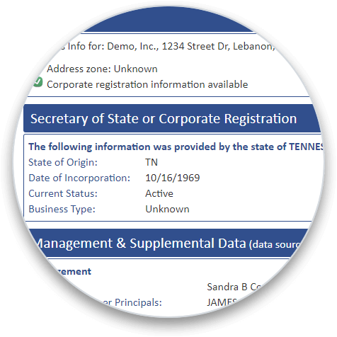 Secretary of State or Corporate Registration section on a business credit report