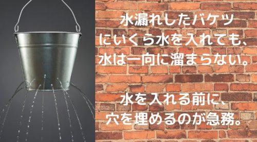 水漏れしたバケツ にいくら水を入れても、 水は一向に溜まらない。 水を入れる前に、 穴を埋めるのが急務。