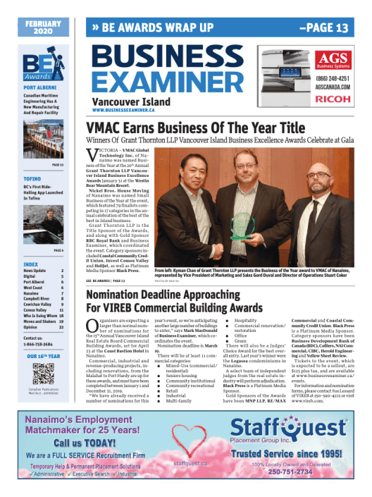 Business Examiner Vancouver Island February 2020 Cover