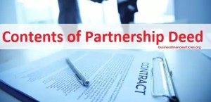 contents of partnership deed