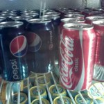 coke and pepsi in fridge