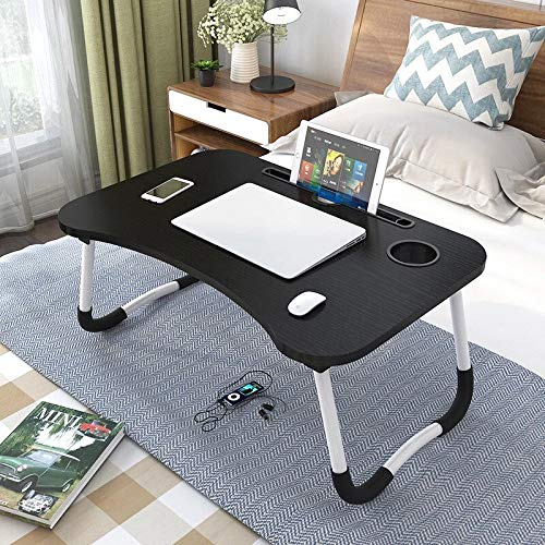 HOME CUBE 1 Pc Smart Multi-Purpose Laptop Table with Dock Stand/Study Table/Bed Table/Foldable and Portable/Ergonomic & Rounded Edges/Non-Slip Legs (Dark Gray)