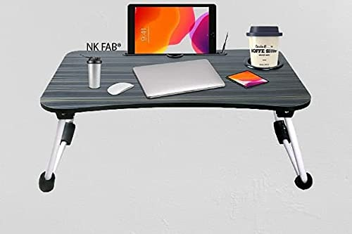 NK FAB Smart Standard Multi-Purpose Laptop Table with Dock Stand/Study Table/Bed Table/Foldable and Portable/Ergonomic & Rounded Edges/Non-Slip Legs/Engineered Wood