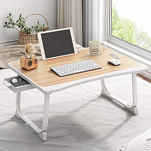 Tarkan Portable Folding Laptop Desk for Bed, Lapdesk with Handle, Drawer, Cup & Mobile/Tablet Holder for Study, Eating, Work Brown