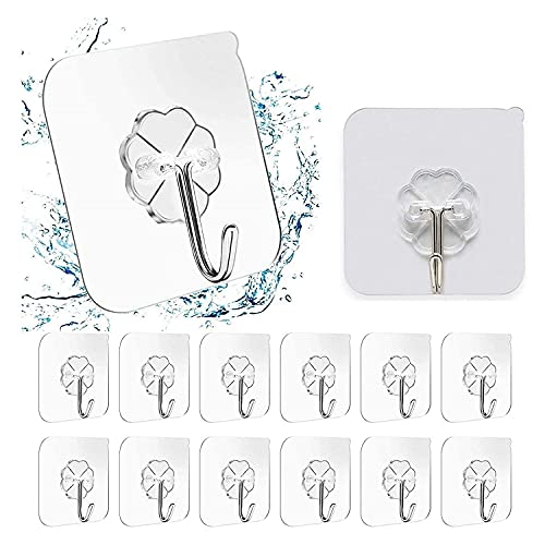 DK HOME APPLIANCES Self Adhesive 10 Pcs Wall Hooks Heavy 10KG (Max) Magic Stickers Seamless Transparent Adhesive Hanging Keys Coats Hats Bags Ceiling Kitchen Accessories