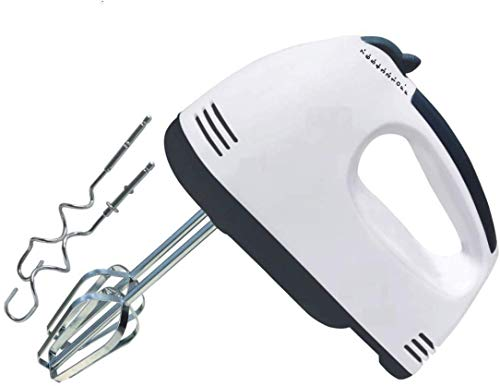 ENZO UNITY Hand Mixer Beater Blender Electric Cream Maker for Cakes with Base 7 Speed Control and 2 Stainless Steel Beaters, 2 Dough Hooks (White)