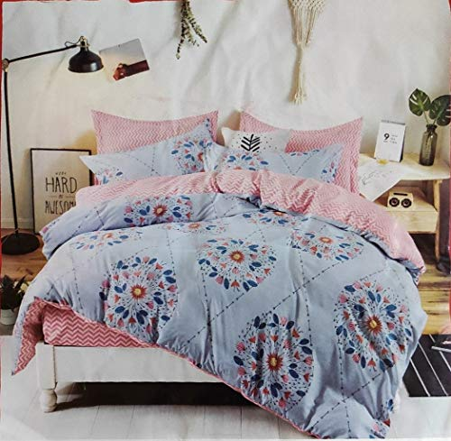 Gadgets Appliances Home Decor Microfiber Glace Cotton AC Comforter Set King Size Double Bed with Matching bedsheet- and Two Pillow Covers II 4 pc Bedding Set-Multi-Color