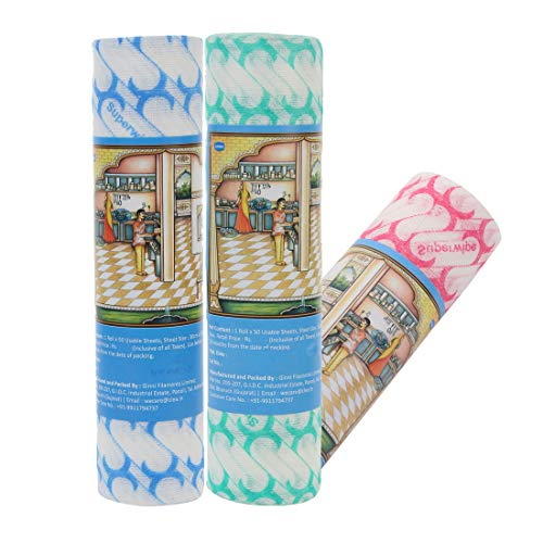 Ginni 6 Non Woven Fabric Reusable & Washable Kitchen Swipe Tissue/Towel Rolls Multi-Purpose Household Sheets (50 Pulls per Roll, 30 X 25 Cm) -Pack of 3