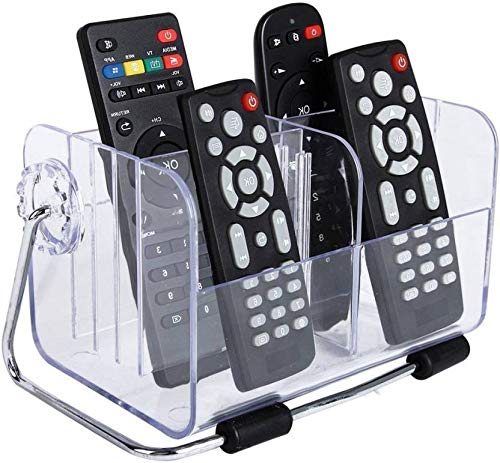 MeRaYo Multipurpose Acrylic Remote Control Holder Stand Organizer for Home & Office (18 * 12 * 11 cm, Transparent)