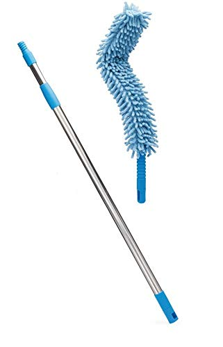 QUICK UNBOX Flexible Microfiber Cleaning Duster for Home, Kitchen, Car, Ceiling, and Fan Dusting with Stainless Steel Extendable Handle