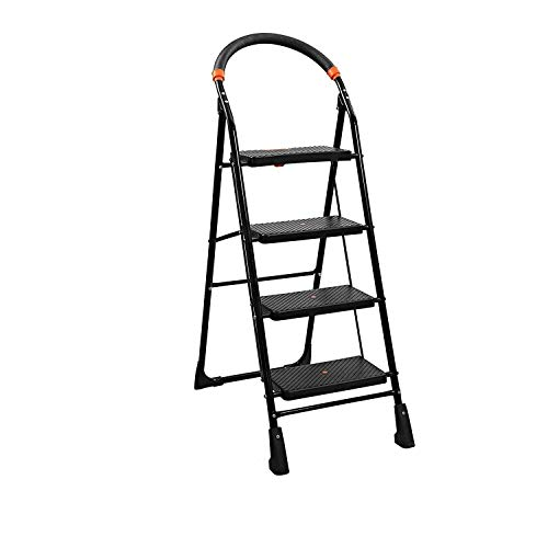 TRUPHE Powder Coated Steel Pipes, Polypropylene Copolymer Steps, Rubber Boots, Foam Clad Handles Anti Skid Foldable 4 Step Ladder for Home Use