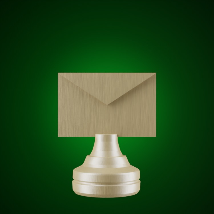 Email chess piece on green glow
