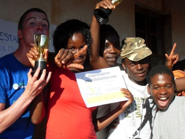 Andy celebrating with volunteers who hosted a talent show & safe sex awareness session for local youth on Valentine's Day in South Africa