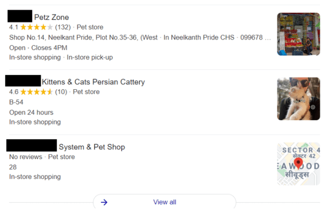 Example for Click Through Rate. Search listing for query Pet shops near me