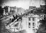 """Boulevard du Temple, Paris. Louis Daguerre 1838 - with the first ever """"capture"""" of people...."""