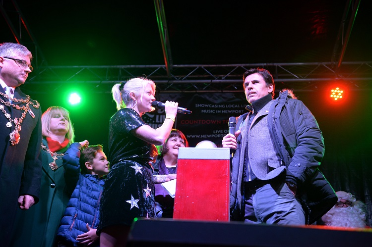 Chris Coleman turning on the Christmas lights in Newport.