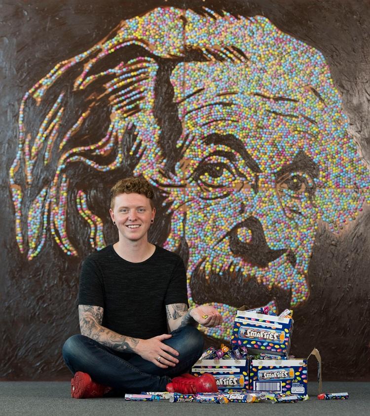 Nathan Wyburn with Smarties Einstein portrait 2 - Copy