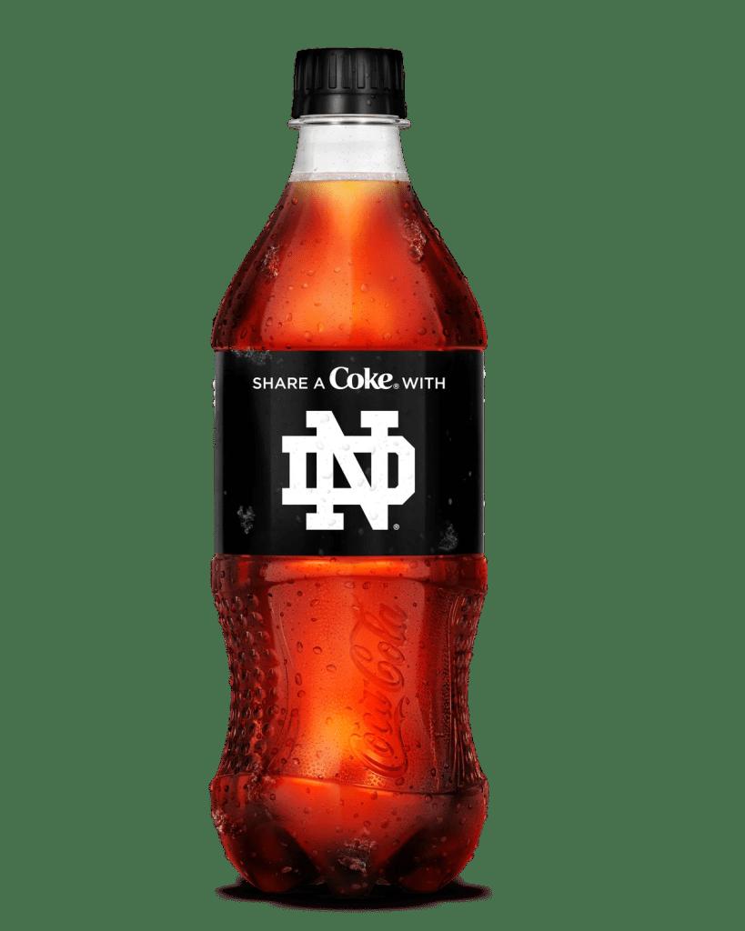 Coke Zero Sugar college bottle Notre Dame