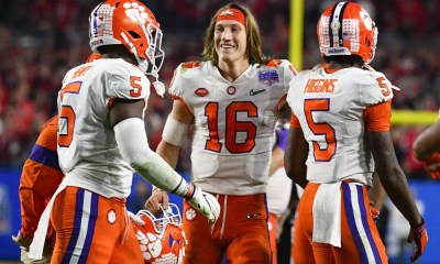 Federal NIL legislation would benefit top college football players like those pictured here, including Trevor Lawrence