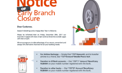GTBank Announces Early Closure Today