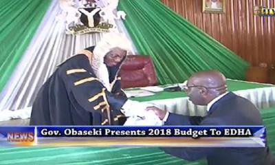 Obaseki Presents N146b 2018 Budget to Edo Assembly