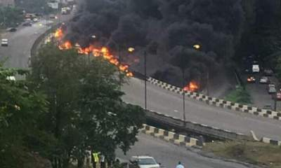 Pandemonium as Petrol Tanker Explodes in Lagos, Many Feared Dead