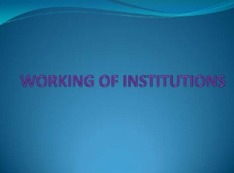 Working Institutions