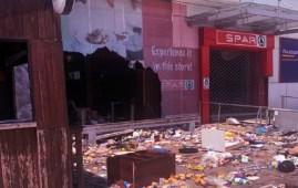 Vandalised Lekki SPAR store