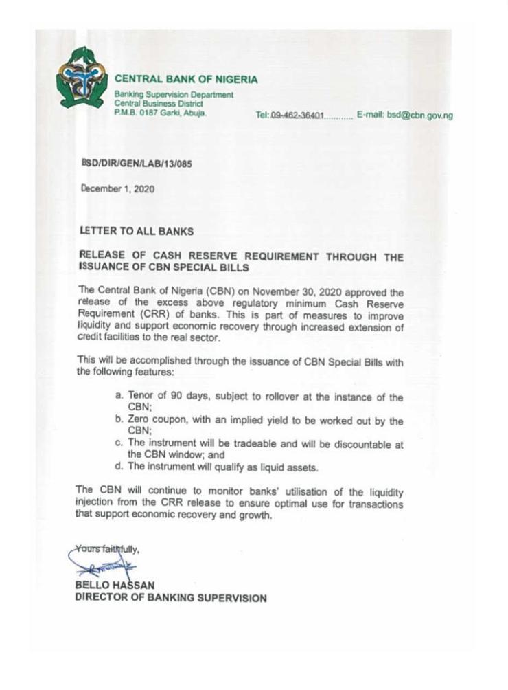 Banks CRR CBN Special Bills