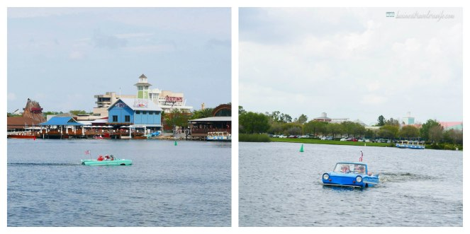 what to do in Disney Springs - free boat ride amphicar